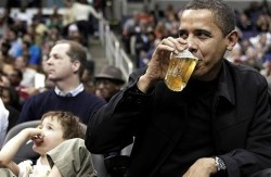 President Obama daintily holding a beer as if he's at a tea party. Not to be confused with an anti-tax Tea Party.