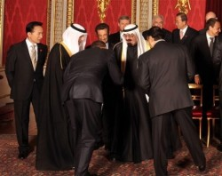 The President of the United States bowing to the King of a country that allows 60-year old men to marry girls younger than his daughters Malia and Sasha.