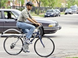 Mom jeans = nerd chic. The only thing missing is a little bell on the handlebars.