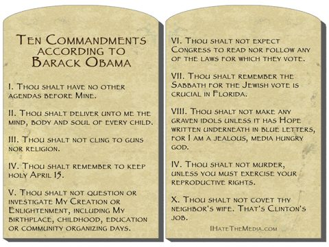 Click the image for a full-sized view of The Ten Commandments according to Barack Obama
