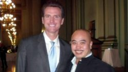 "Gavin Newsom poses with notorious Chinatown gangster Raymond ""Shrimp Boy"" Chow, recently convicted ofconspiracy to operate a century-old community organization as a racketeering enterprise, murdering its previous leader, conspiring to try to murder another rival, five counts of dealing in stolen liquor and cigarettes, and 154 counts of money-laundering."