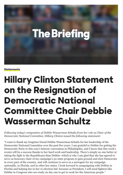Hillary Clinton Statement on the Resignation of Democratic National Committee Chair Debbie Wasserman Schultz