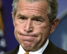 No matter how hard he thinks, George Bush can't remember any support from the New York Times