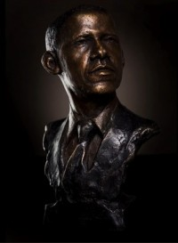 Give the artist credit. He perfectly captured the arrogant tilt of Obama's chin.