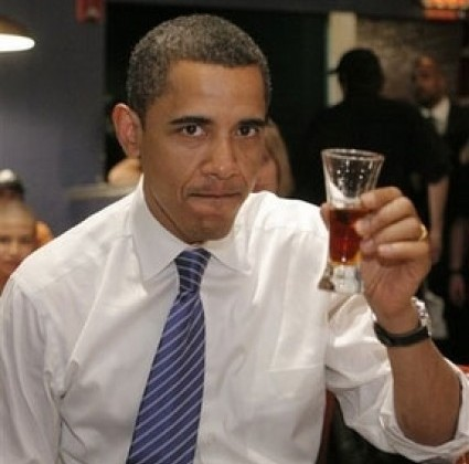Obama drinks beer like he's at an English Tea Party 3