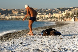 Snow on the beaches of Southern France on December 19, 2009