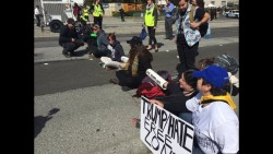 Protesters await Trump appearance at Burlingame GOP convention
